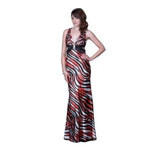 🎆Zebra Printed Satin Halter Evening Gown🎆